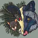 Forest Wildlife: Fox, Magpie, Squirrel, and Yew by danibeez