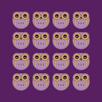 Purple Owls by foxietoo