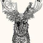 Nature Forest Plant Deer (Black) by danibeez