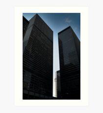 CN tower between skyscrapers, Toronto Art Print