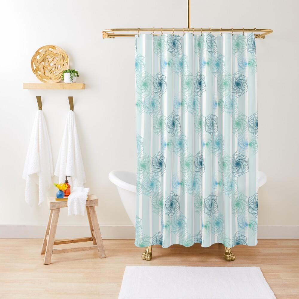 Futuristic gentle hexagons in mint Shower Curtain
