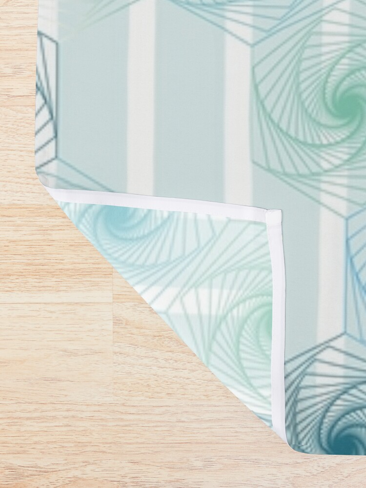 Alternate view of Futuristic gentle hexagons in mint Shower Curtain