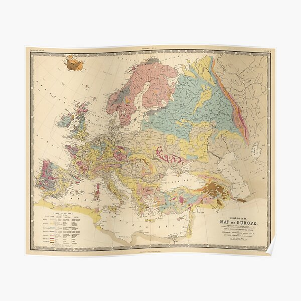 Vintage Geological Map of Europe (1856) Poster
