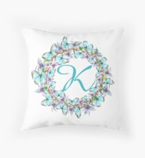 Letter K- butterfly, orchid, Alphabet, Monogram, Initial  Throw Pillow