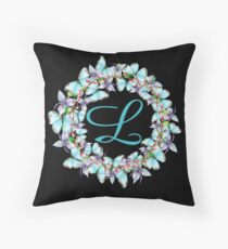 Letter L- butterfly, orchid, Alphabet, Monogram, Initial  Throw Pillow
