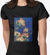 'Flowers' by Katsushika Hokusai (Reproduction) Womens Fitted T-Shirt
