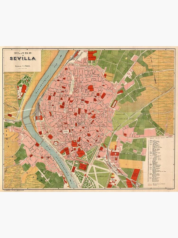 Vintage Map of Seville Spain (1918) by BravuraMedia