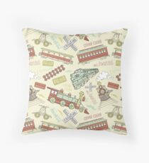 Retro Railroad Trains Throw Pillow