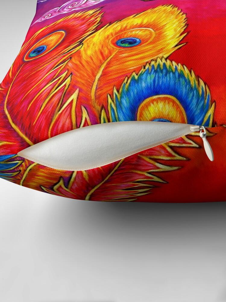 Alternate view of Fenghuang Chinese Phoenix Rainbow Bird Throw Pillow