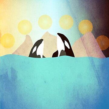Orcas under the Sun by nannapaskesen