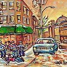 ST VIATEUR AND CLARK WINTER MONTREAL STREET SCENE by Carole  Spandau