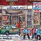 MONTREAL MEMORIES WINTER IN THE CITY QUEEN MARY ROAD SNOWDON STORES HOCKEY PAINTINGS by Carole  Spandau