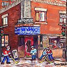 WINTERSCENE PAINTINGS POINTE ST CHARLES STREET HOCKEY VERDUN SOUTHWEST MONTREAL by Carole  Spandau