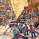 MONTREAL WINTER SCENES STREET HOCKEY ART VERDUN PSC PLATEAU MONT ROYAL STAIRCASES by Carole  Spandau