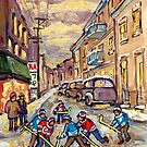 MORE GOALS HOCKEY PRACTICE WINTER CITY SCENES MONTREAL ART by Carole  Spandau