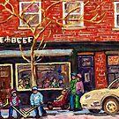 WINTER WALK RUE NOTRE DAME ST HENRI STREET HOCKEY PAINTINGS C SPANDAU CANADIAN CITY SCENE ARTIST by Carole  Spandau