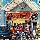 BURLINGTON VERMONT BAGEL BAKERY CAFE BARGE CANAL MARKET WINTER SCENE HOCKEY ART PAINTING C SPANDAU by Carole  Spandau