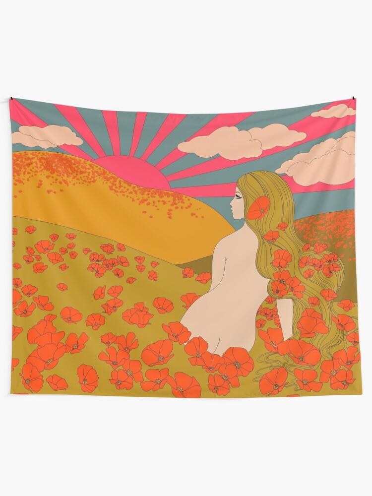 Alternate view of California Poppies Tapestry