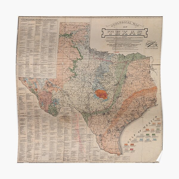 Vintage Geological Map of Texas (1920) Poster