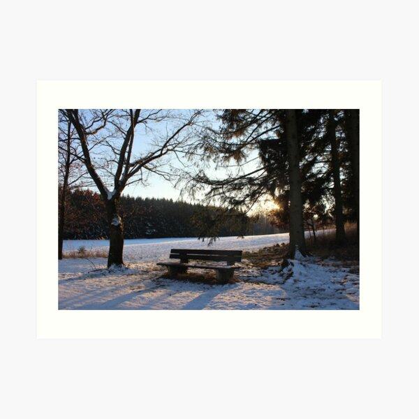 Winterbank Kunstdruck