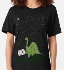 I believe in you, Pluto! Love, Brontosaurus Slim Fit T-Shirt