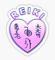Corazón Reiki Rosa Pegatina
