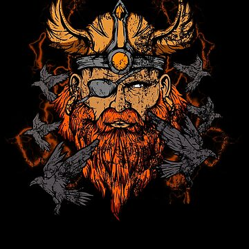 Odin & His Ravens Norse Mythology Distressed by perfectpresents
