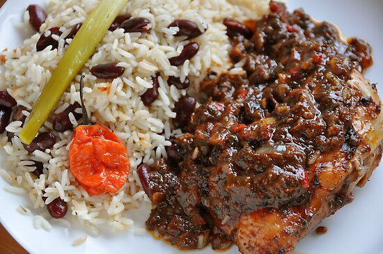 Caribbean Jerk Chicken with Rice and Peas by John Hooton