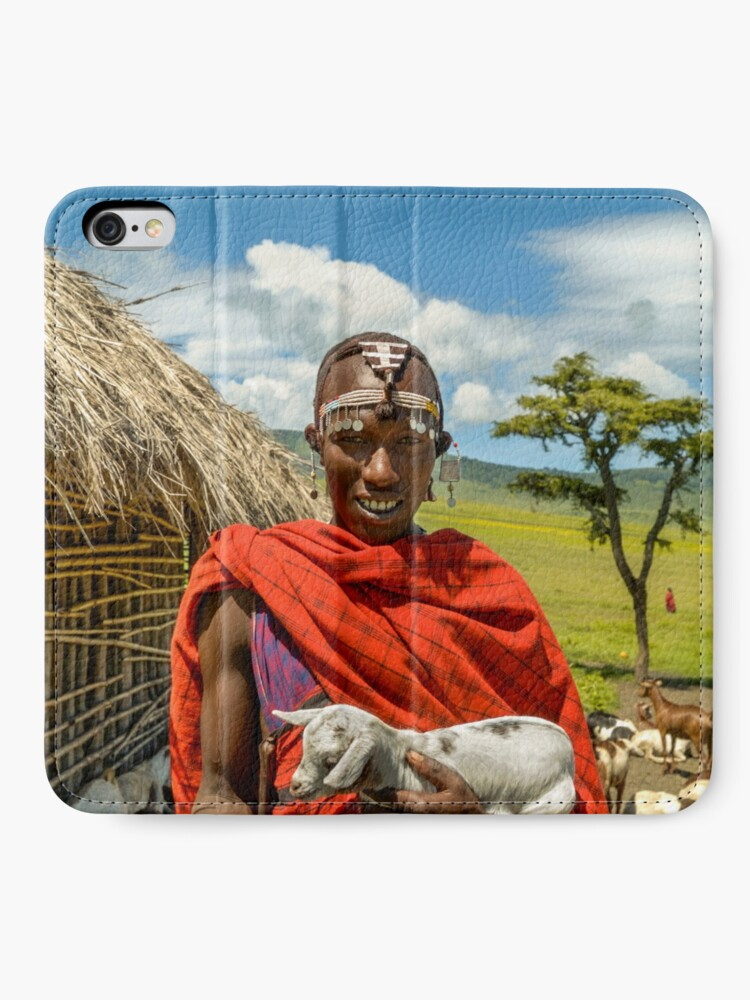 Alternate view of Maasai Tribesman with Goat 4279 iPhone Wallet