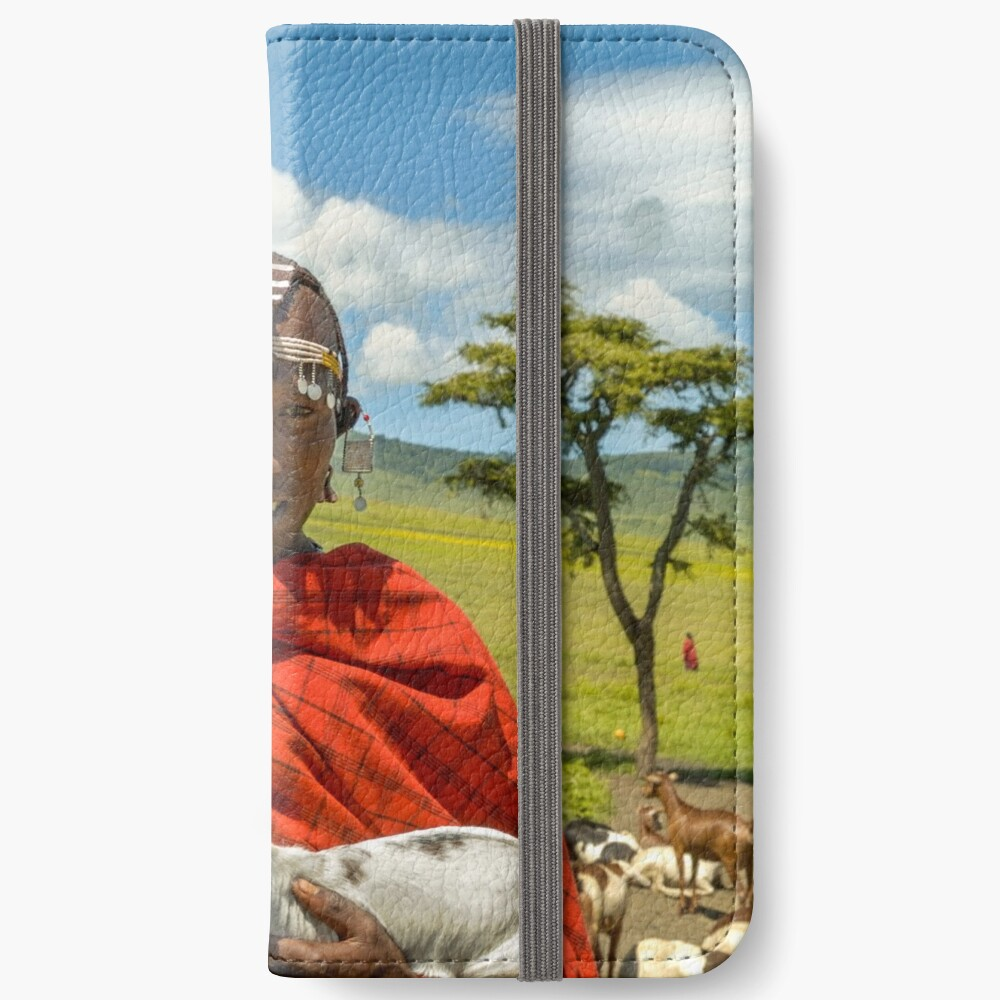 Maasai Tribesman with Goat 4279 iPhone Wallet