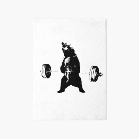 Deadlifting Bear Art Board Print