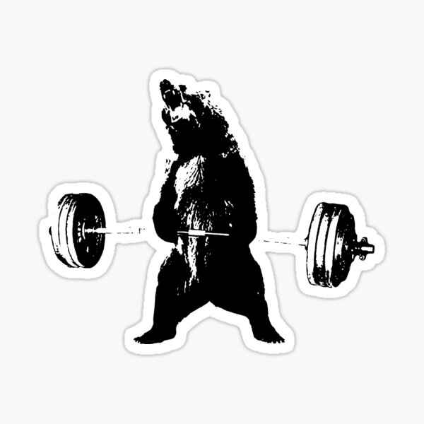 Deadlifting Bear Sticker