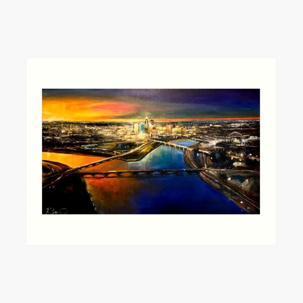 Des Moines Aerial Cityscape Art Print