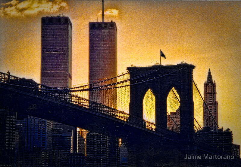 brooklyn bridge to the twin towers posters by jaime martorano redbubble. Black Bedroom Furniture Sets. Home Design Ideas