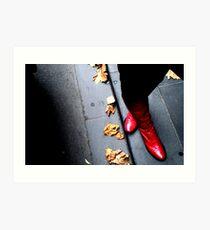 a ruby click for an autumn road Art Print