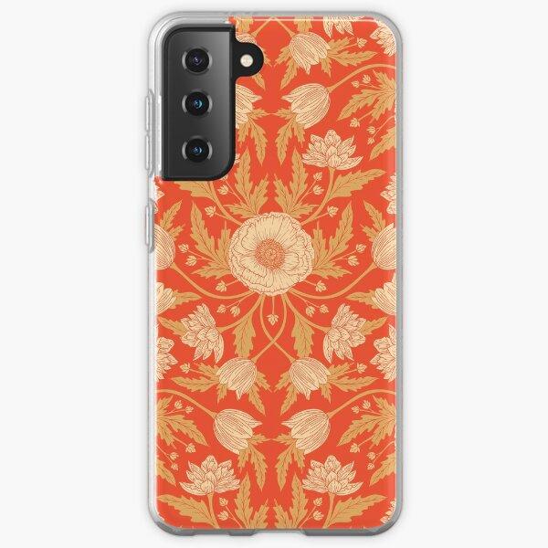 Orange, Cream and Tan Modern Floral Samsung Galaxy Soft Case
