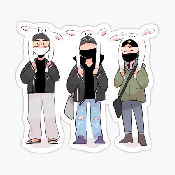 BTS: SUNSHINE LINE IN BUNNY HATS! Sticker
