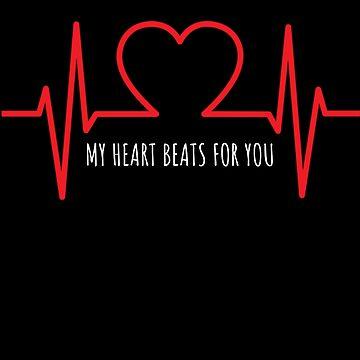 My Heart Beats For You Cute EKG Pun by DogBoo