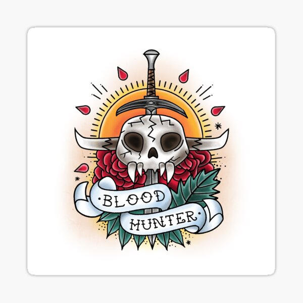 Bloodhunter - Vintage D&D Tattoo Sticker
