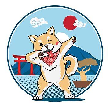 Japanese Akita dog with dab pose by PM-TShirts
