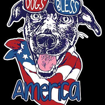 Dog and dogs bless America Illustration by PM-TShirts