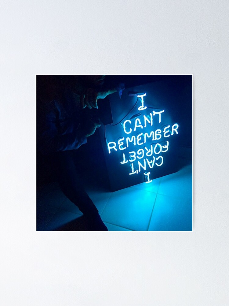 Aesthetic Blue Neon Poster By Savemejimin Redbubble