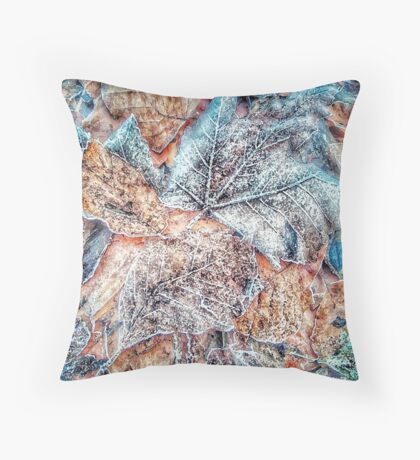Winter Leaves pattern bywhacky Throw Pillow