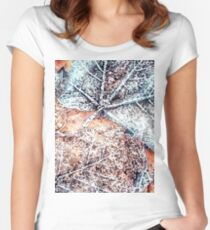 Winter Leaves pattern bywhacky Women's Fitted Scoop T-Shirt