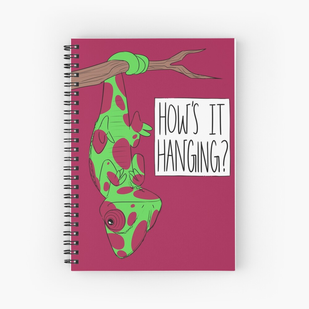 CUTE CHAMELEON - How's It Hanging (Red Spotted)  Spiral Notebook