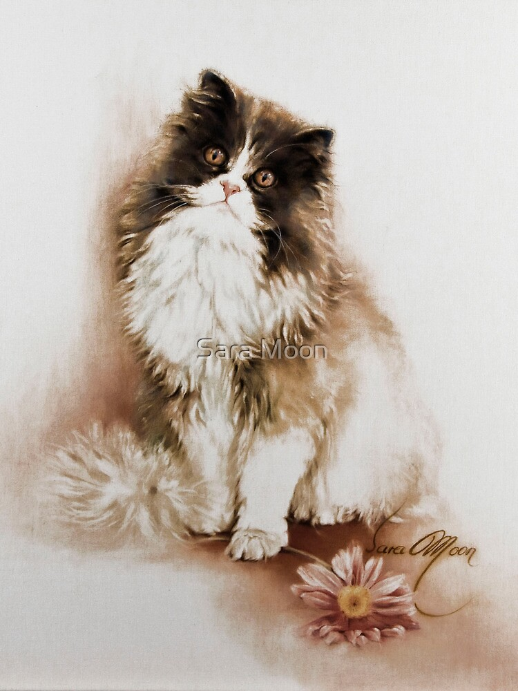 """Cat with Flower"" Painting in Oils by Sara Moon"