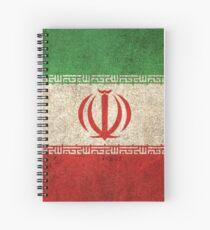 Alte und abgenutzte beunruhigte Weinlese-Flagge vom Iran Spiralblock