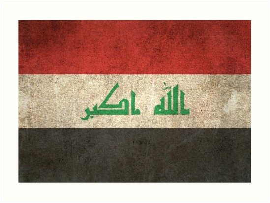 Old and Worn Distressed Vintage Flag of Iraq by jeff bartels