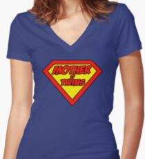 Super mom Mother of Twins Women's Fitted V-Neck T-Shirt