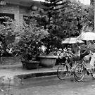 Under Rain on Bicycle by Tai Chau